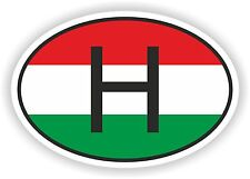 OVAL FLAG WITH H HUNGARY COUNTRY CODE STICKER CAR MOTOCYCLE AUTO TRUCK LAPTOP