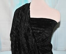 PLEATED VELVET FABRIC BLACK 4 WAY STRETCH POLYESTER SPANDEX BTY