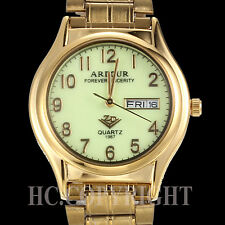 Fantastic Gold Plated Luminous Dial Stainless Steel Date Day Men's Wrist Watch