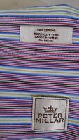 Peter Millar Men's button front 100% Cotton Medium striped Long Sleeve shirt