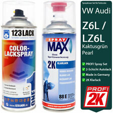 Autolack Spraydosen Set 2K Klarlack + VW Audi KAKTUSGRUEN Z6L / LZ6L Pearl