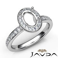 0.45Ct Semi Mount Halo Pave Set Platinum Diamond Engagement Classic Oval Ring