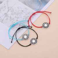 Handcraft Exquisite Slavic Sun Wheel Charm Wax Cord Gift Bracelet for Men Women