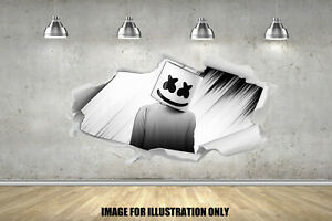 Marshmello 3D Paper Rip Gamer Floss Childrens Wall Sticker Fort Gaming Decal EDM