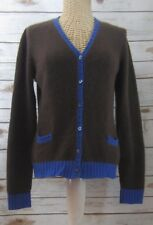 ANNE CLAIRE Womens Small Blue Brown Colorblock Cashmere Cardigan Sweater Italy