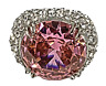 Pink Rhinestone Ring Pageant Glamour Statement Jewelry Stretch Band  R12355