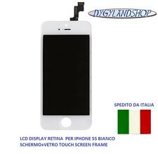 LCD DISPLAY RETINA  PER IPHONE 5S BIANCO  SCHERMO+VETRO TOUCH SCREEN FRAME