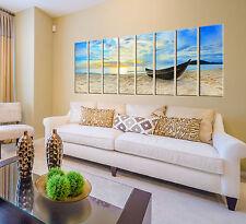 Sunset beach print on canvas, beach canvas prints, 8 panel print sunset wall art