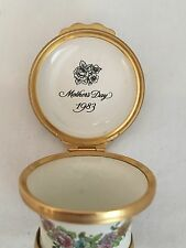 """Halcyon Days Box Mother's Day 1983 Flower Basket """"With Much Love"""""""