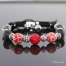 Damen Lava Rock Rot Impression Jaspis Perlen Shamballa Armband für Frauen