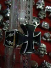 ANELLO croce malta acciaio misura 24 trendy ring skull cavalieri templari