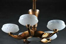Grand lustre art déco en cuivre et verre mouluré