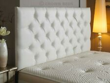 5FT KING SIZE   TOP QUALITY CROWN PLAIN BUTTON WHITE  FAUX LEATHER HEADBOARD