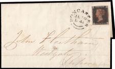 SG2 1841 1d. Black, plate 9, BG, fine used on cover, red maltese cross and Do...