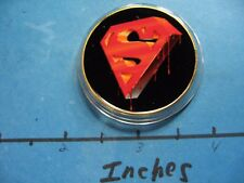 SUPERMAN EMBLEM DRIPPING DC ENAMEL COLORED HOLLYWOOD NICKEL COPPER COIN #J
