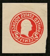 US #U429 Reverse Printing Error Var Cut Square 2c Carmine Washington 1915
