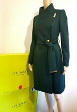 TED BAKER SANDRA GREEN WOOL CASHMERE WRAP COAT UK 10 TED 2 US 6 BNWT RRP £329.00
