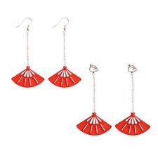 Red Transparent Resin Acrylic Hollow Fan Ear Hook Earrings Ear Clips Wholesale