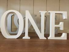 ONE, 3 Bright White Wooden Letters ONE, 13cm Large Letters, First Birthday, 1st