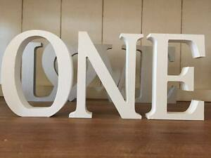 ONE, White Wooden Letters Spelling ONE, 13cm Large Letters, First Birthday, 1st
