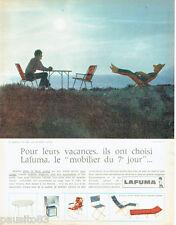 PUBLICITE ADVERTISING 115  1968  LAFUMA    mobilier vacances l'ile Riou transat