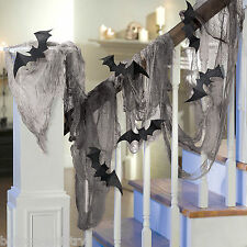 15ft Gothic Halloween Black Gauze Draping Glitter Bats Cutouts Decoration Kit