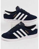 adidas Hamburg Trainers in Navy & White, Suede - LAST SIZE SALE