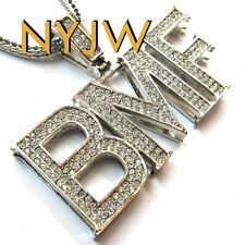 "ICED OUT SILVER BMF BLACK MAFIA FAMILY PENDANT W/ 36"" CHAIN"