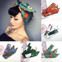 Da Donna o Ragazza Moda Vintage Fascia Capelli Floreale Nodo Boemia Turbante per