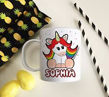Personalised Plastic Unbreakable Kids Cup, Toddler Cup Rainbow Unicorn Theme