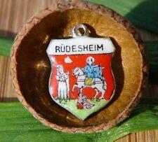 VINTAGE 835 SILVER enamel RUDESHEIM Germany shield CHARM (C-231)