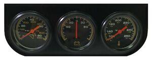 "Universal 2"" Triple Gauge Set Water Temperature Oil Pressure PSI Ammeter Amperes"