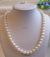 Genuine silver 8-9mm near round freshwater pearl necklace+earring L55cm