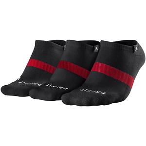 Nike Air Jordan Dri-fit Youth 3-Pack No-Show Socks - Kids Size 3Y -5Y - Black