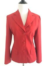 Berlin Womens Blazer V-Neck Size 36 Long Sleeves Lined Suit Jacket Red