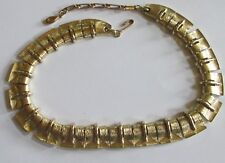 LISNER designer signed gold tone MOD choker necklace vintage VGUC