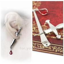 Cesare'S Veto Sword Blood Red  Droplet Gothic Stud Earring Medieval Jewelry
