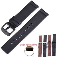 24mm 22mm 20mm 18mm Genuine Leather Band Watch Strap Wristband Belt w Quick Pins