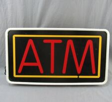 "Vintage ATM Lighted Sign 13x24"" Plastic Electric Wall or Chain Hanging Bank Cash"