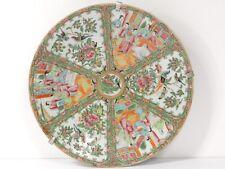 Plat porcelaine chinoise Canton personnages geishas oiseaux papillons XIXè