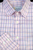 Turnbull & Asser Men's Pink Blue White Check Cotton Casual Shirt M Medium