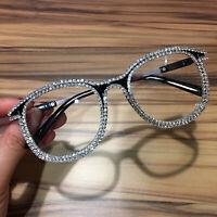Lady Oversized Bling Rhinestone Sunglasses Classic Cat Eye Metal Frame Clear Len