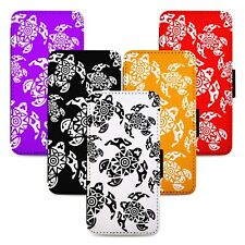 Tribal Turtle Patterns Flip Phone Case Cover Wallet - Fits Iphone 5 6 7 8 X 11