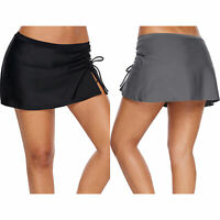 Ruched side vent detail swim skirt bottom swimwear beach active solid women