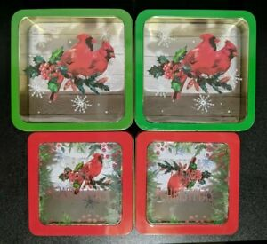 """Christmas Set of 4 Nesting Stackable Cookie Tins 6.75""""x6.75""""x2.5"""" & 6""""x6""""2.125"""""""