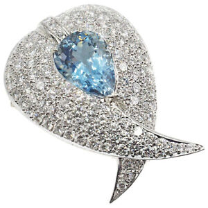 2.55ct Natural Round Diamond Blue Topaz 14K Solid White Gold Brooch Pin