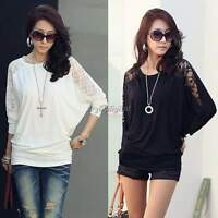Size 6-18 Sexy Womens Ladies Batwing Lace Long Sleeve Loose T-Shirt Blouse Top