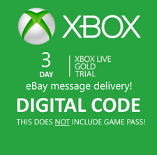 Xbox Live 3 Day Gold Trial Membership Code NOT GAMEPASS