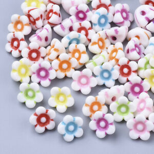 125+ White Acrylic Mix Color Flower Beads Fun Kids Crafts Jewelry 10x10x6mm USA