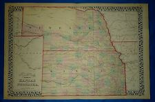 Vintage 1876 Atlas Map  KANSAS - NEBRASKA FRONTIER Old Antique Original Free S&H